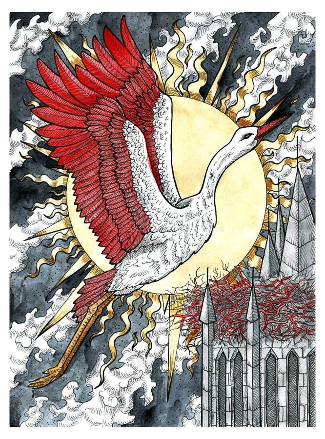 Schöner Storchenvogel, der gegen den Turm fliegt, mit Nest und aufsteigender Sonne lizenzfreie abbildung