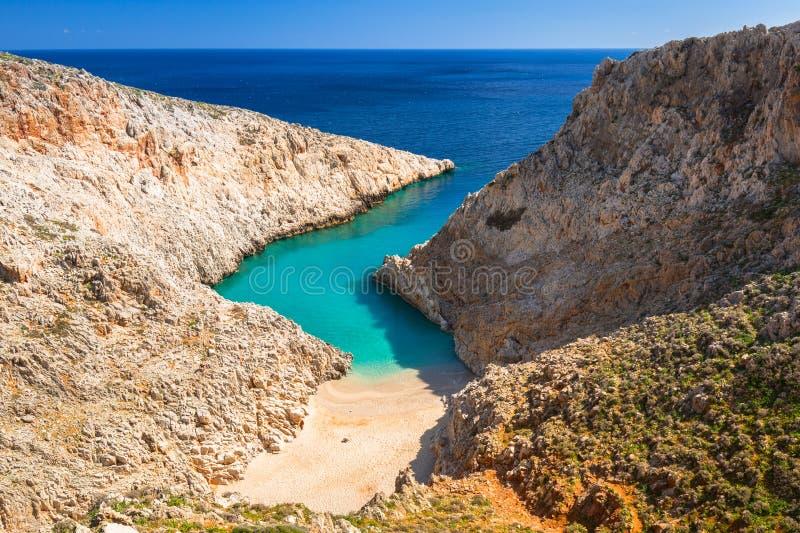 Schöner Strand nannte Seitan-limania auf Kreta, Griechenland stockbild