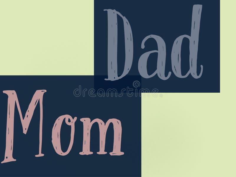 Schöner Text Familientapete Mutter und Vatis in den dunkelblauen Farben lizenzfreie abbildung