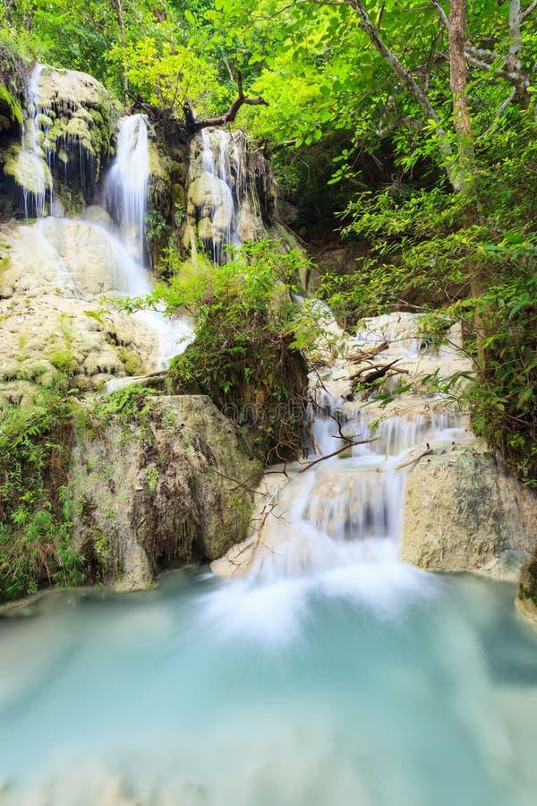 Schöner tiefer Waldwasserfall in Thailand lizenzfreie stockbilder