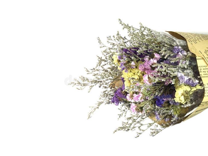 Schöner Trockenblumeblumenstrauß lokalisiert auf weißem Hintergrund stockfotos