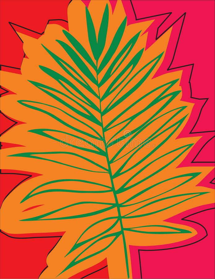 Schöner tropischer Palme-Blatt-Schattenbild-Hintergrund lizenzfreie abbildung