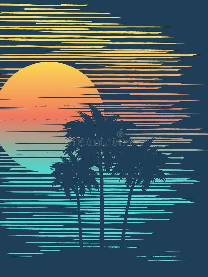 Schöner tropischer Sonnenuntergang lizenzfreie abbildung