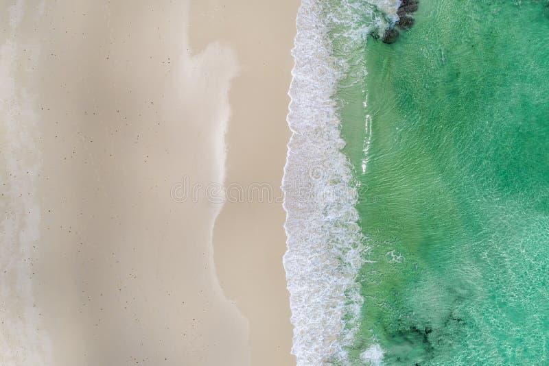 Schöner tropischer weißer leerer Strand und Meereswellen gesehen von oben Seychellen-Strandvogelperspektive lizenzfreies stockfoto
