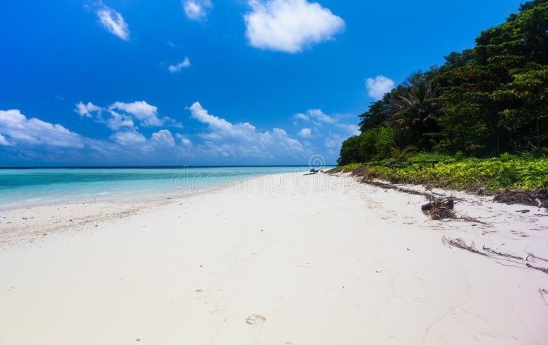 Schöner tropischer weißer Sand-Strand und haarscharfes Wasser sip lizenzfreie stockfotos