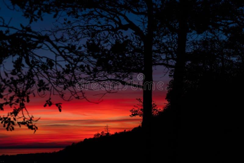 Schöner und bunter Sonnenuntergang über dem Wald und dem Fluss lizenzfreie stockbilder