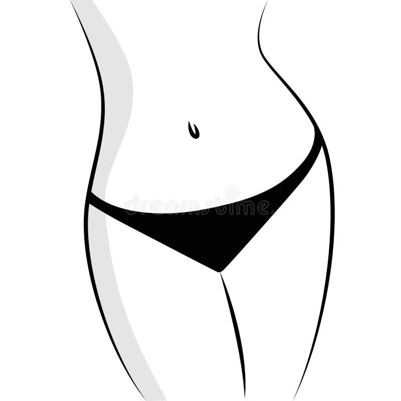 Schöner und geeigneter weiblicher Körper Schwarzweiss lizenzfreie abbildung
