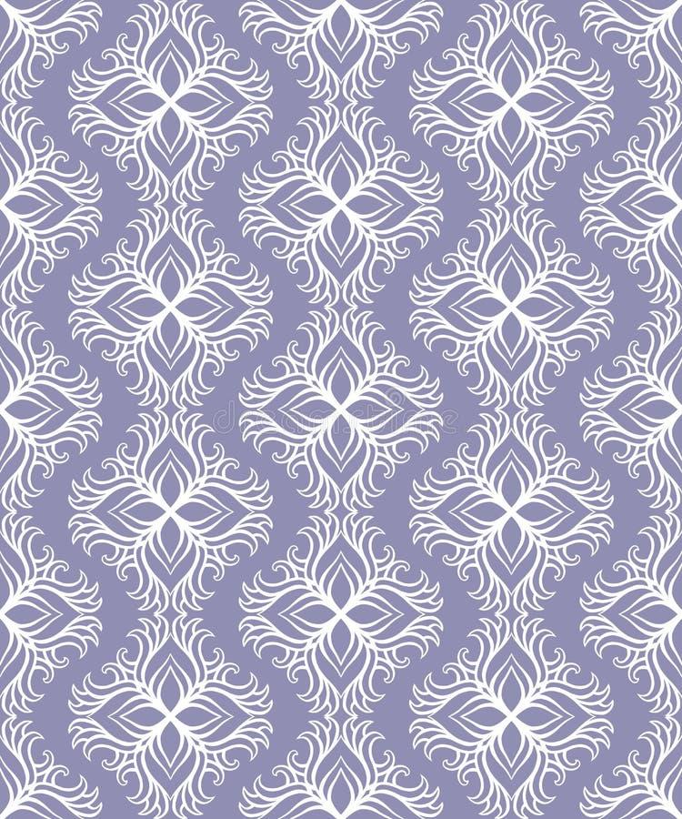 Schöner Vektor Druck-nahtloses Muster Mandala Flowers mit blauem Hintergrund vektor abbildung