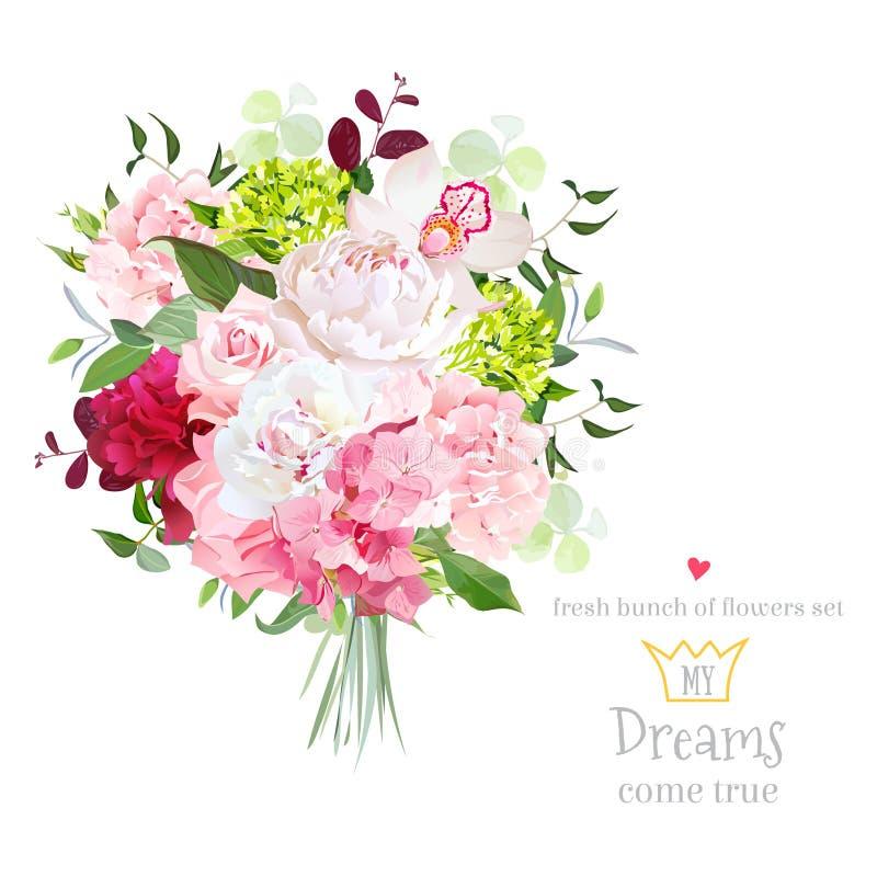Schöner Vektorblumenstrauß mit Pfingstrose, stieg, Gartennelke, Hortensie, Orchidee, Grünpflanzen auf weißem Vektordesignsatz lizenzfreie abbildung
