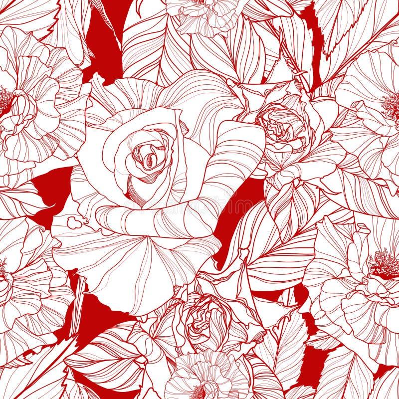 Schöner vektornahtloses Muster mit Rosen lizenzfreie abbildung