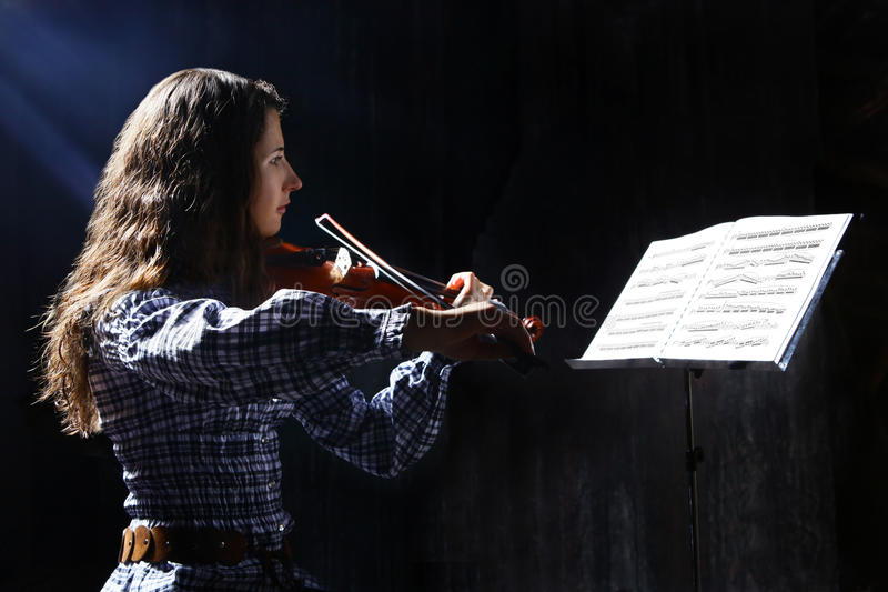 Schöner Violinistmusiker stockbilder