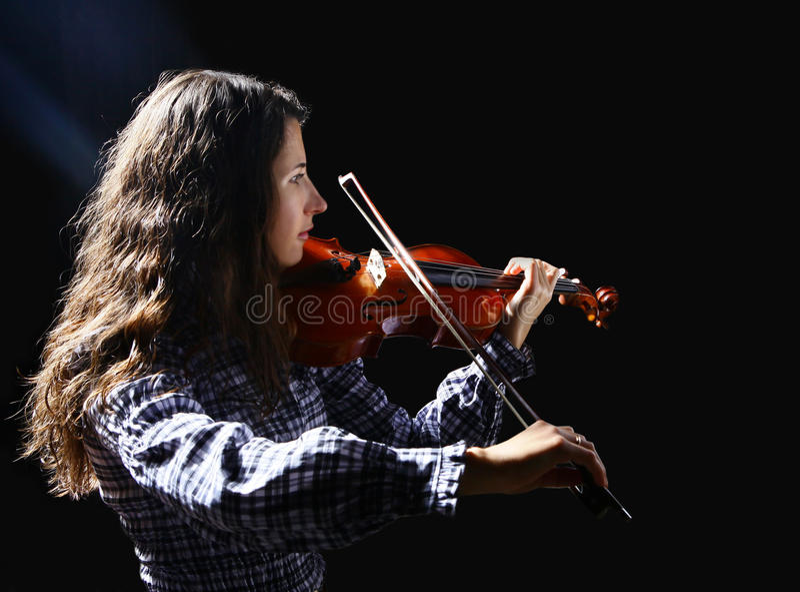 Schöner Violinistmusiker stockfotografie