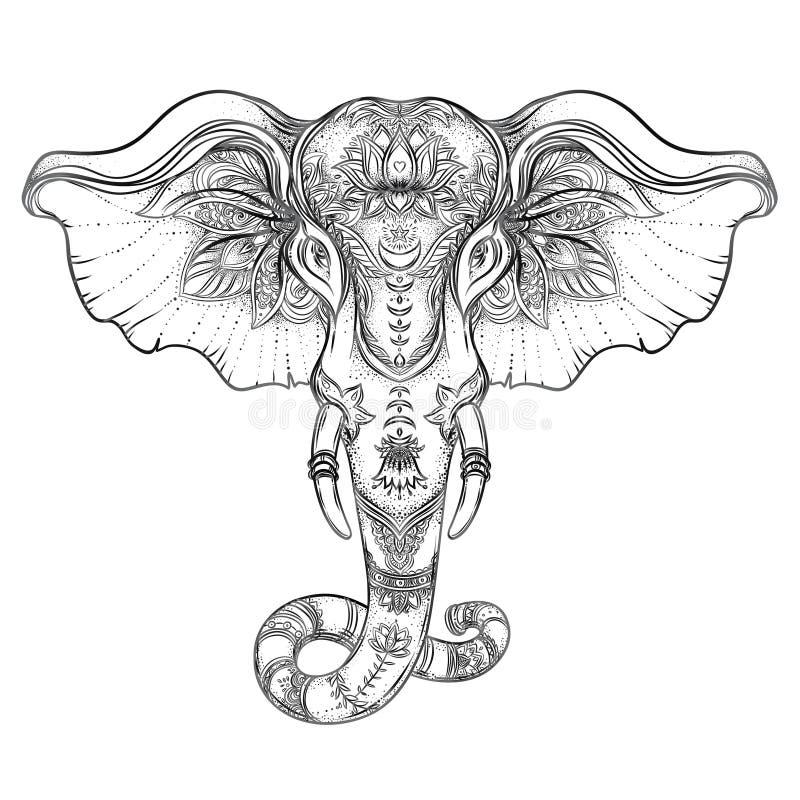 Schöner von Hand gezeichneter Stammes- Artelefant Malbuchentwurf mit boho Mandalamustern, Verzierungen Ethnischer Hintergrund, stock abbildung