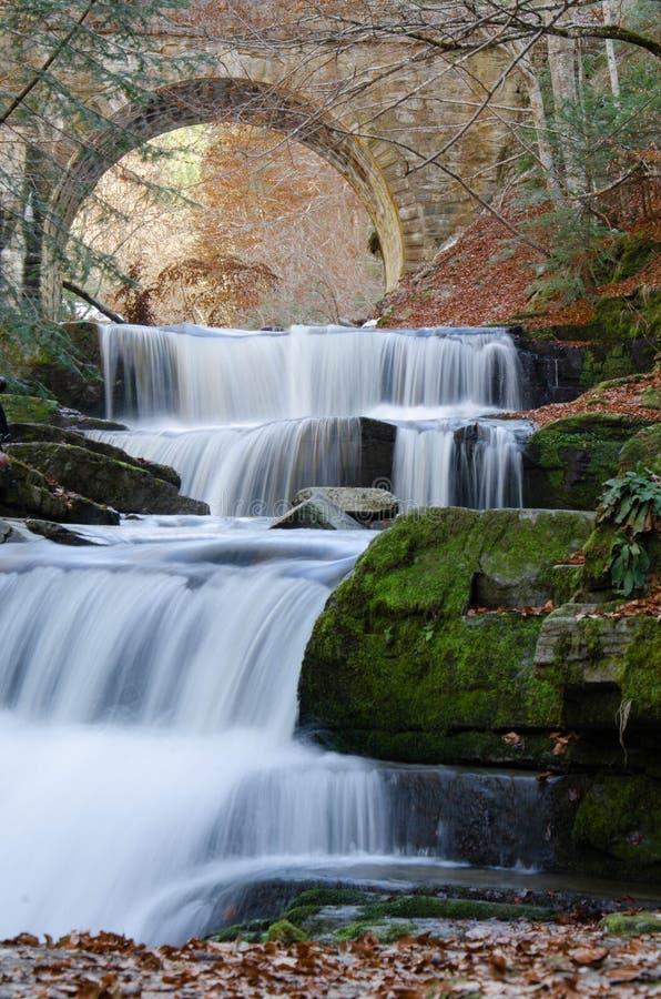 Schöner Wasserfall nahe Sitovo-Dorf, Plowdiw, Bulgarien stockbild
