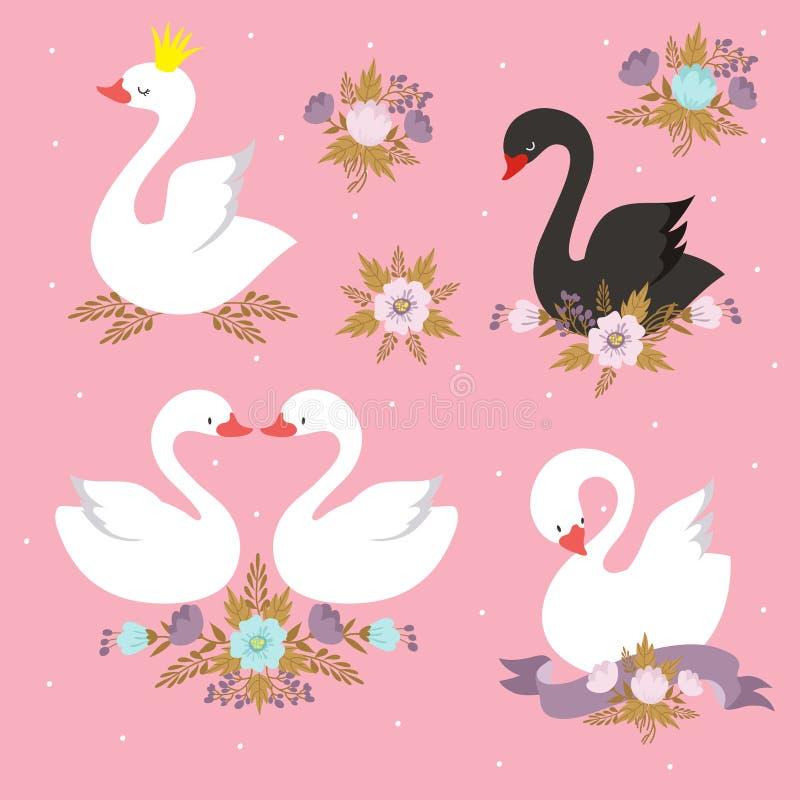 Schöner weißer Prinzessinschwan mit Krone Karikaturgans, Entenvogel-Vektorsatz lizenzfreie abbildung