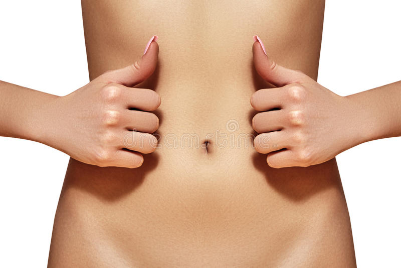 Schöner weiblicher Bauch Hübsche Frau interessiert sich Magen Gesundheitswesen, Verdauung, intestinale Gesundheit Wellness, Badek lizenzfreies stockbild