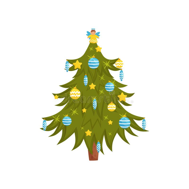Schöner Weihnachtsbaum verziert mit glatten Bällen und nettem Engel auf die Oberseite Flaches Vektorelement für Kinderbuch oder lizenzfreie abbildung