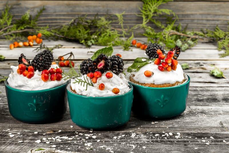 schöner Weihnachtskleiner kuchen mit Sahne und Beere auf hölzernen Hintergrundzimtkegeln lizenzfreies stockbild