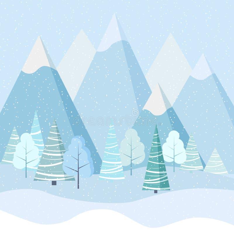 Schöner Weihnachtswinter-Landschaftshintergrund mit Bergen, Schnee, Bäume, Fichten lizenzfreie abbildung