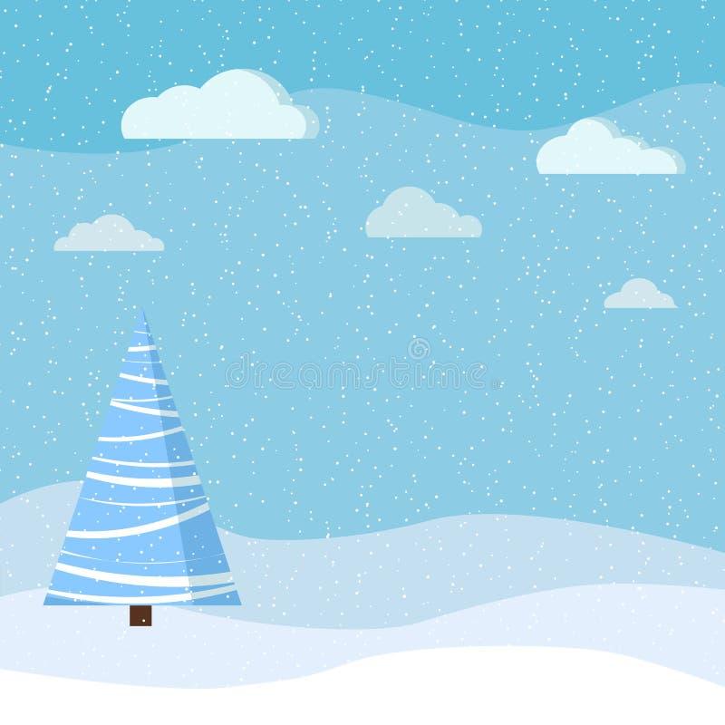 Schöner Weihnachtswinter-Landschaftshintergrund mit Schnee, cloudes und Fichte in der flachen Art der Karikatur stock abbildung