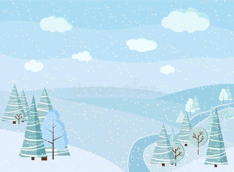 Schöner Weihnachtswinterfluss-Landschaftshintergrund mit Schnee, Bäume, Fichten, gefrorener Fluss, Wolken, Felder stock abbildung