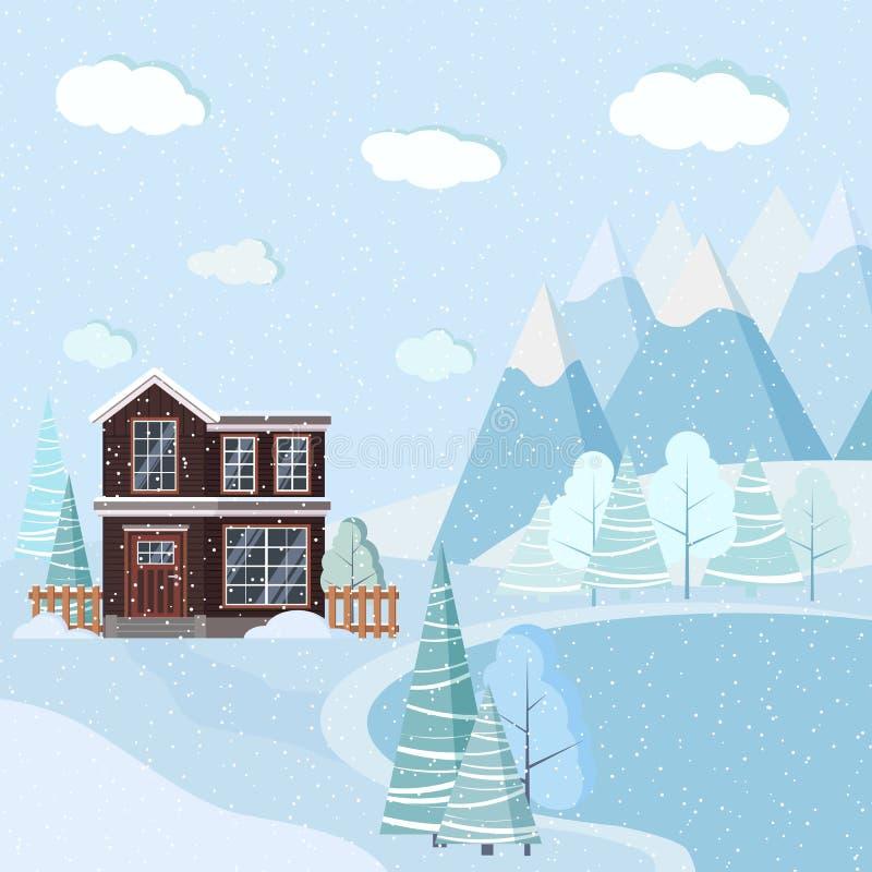 Schöner Weihnachtswinternatur-Landschaftshintergrund mit Bergen, Schnee, Bäume, Fichten, See, zweistöckiges Haus lizenzfreie abbildung