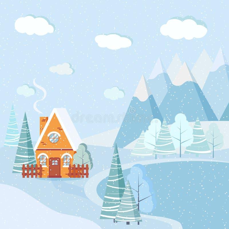 Schöner Weihnachtswintersee-Landschaftshintergrund mit Bergen, Schnee, Bäume, Fichten, Landkarikaturhaus stock abbildung