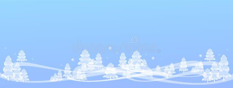 schöner Winterhintergrund, Winterbaumfahne, frohe Weihnachten, Baum des neuen Jahres, Postkarte, Muster entwerfen, neu, 2019 lizenzfreie abbildung