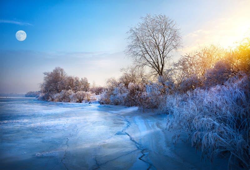 Schöner Winterhintergrund; Winterlandschaft auf einem Hoar Frost stockfotos