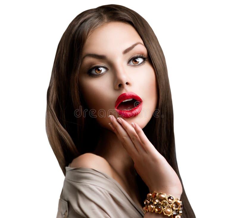 Schönes überraschtes Brunette-Mädchen lizenzfreie stockfotos