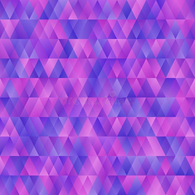 Schönes abstraktes nahtloses Hintergrundmuster mit Blau, Rosa und purpletriangles Regenbogen und Wolke auf dem blauen Himmel lizenzfreie abbildung