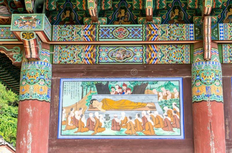 Schönes altes Wandbild von Buddha-` s Tod lizenzfreies stockfoto