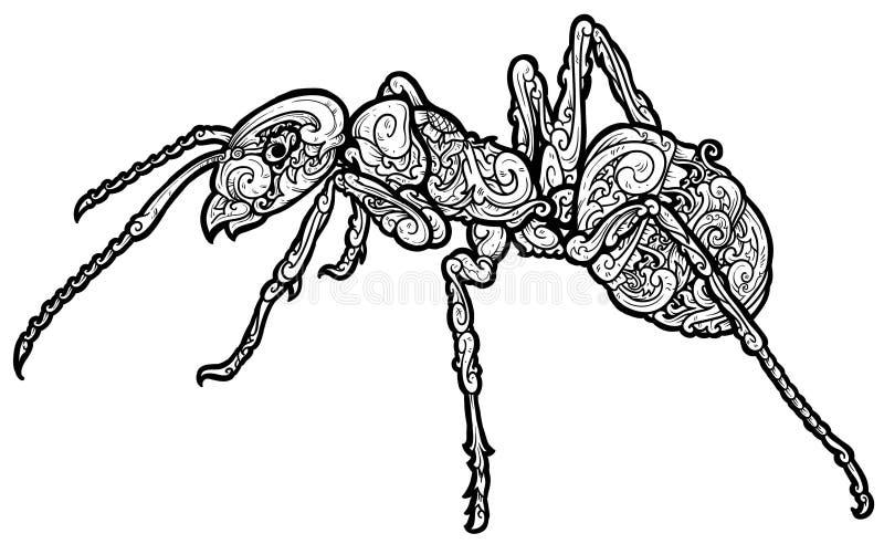Schönes Ameisenverzierung wezz lizenzfreie abbildung