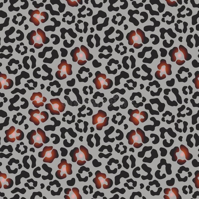 Schönes animalistic nahtloses Muster von schwarzen und hellen braunen Stellen, auf einem grauen Hintergrund, Leopard, Vektor vektor abbildung