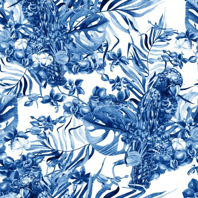 Schönes Aquarell nahtlos, Blumenmusterhintergrund des tropischen Dschungels mit Palmblättern, Blumenorchideen, schwarzer Kakadu stockfoto