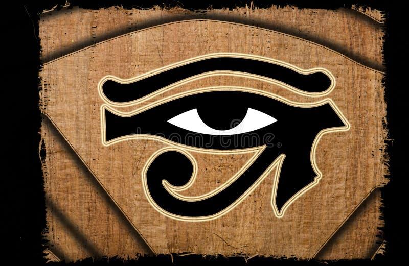 Schönes Auge von horus Weinlese auf Papyrus stockbild