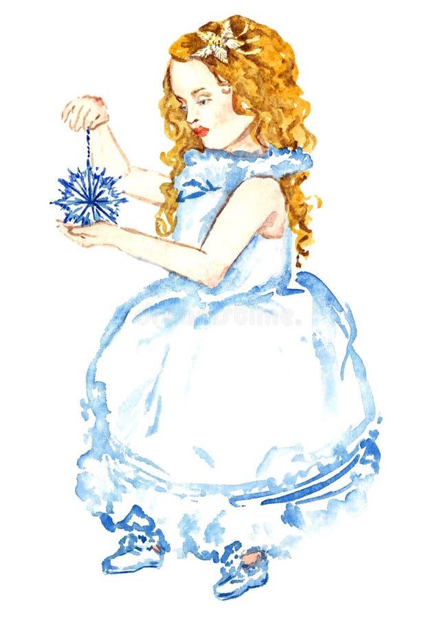Schönes Baby im weißen Kleid, das mit Weihnachtsdekoration, für Grußkarte steht vektor abbildung