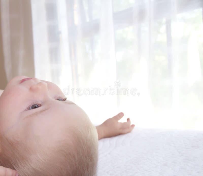 Baby ist oben liegend und schauend stockfotografie