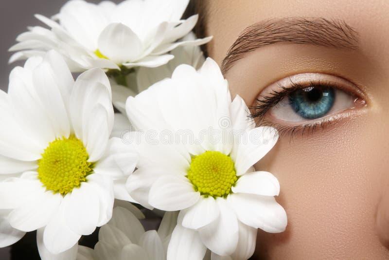 Schönes blaues weibliches Auge mit weißer Frühlingsblume Säubern Sie Haut, Mode naturel Make-up Gute Vision, Gesundheitswesen lizenzfreie stockfotos