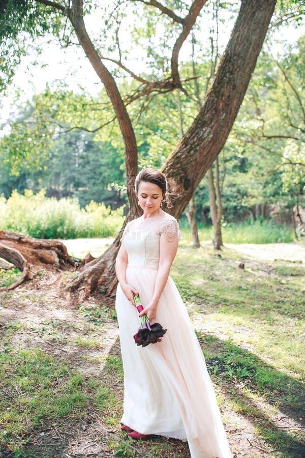 Schönes Braut-Porträthochzeitsmake-up und -frisur Braut im Park stockfoto