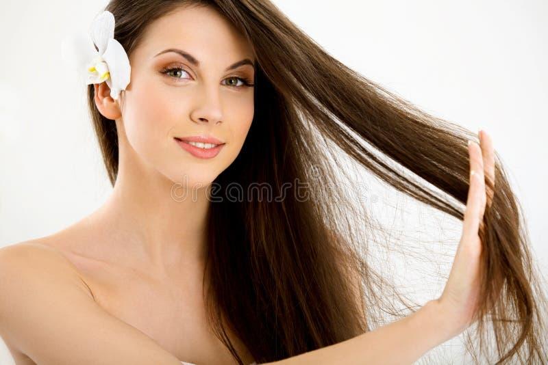 Schönes Brunette-Frauen-Porträt mit dem langen Haar. stockfotografie