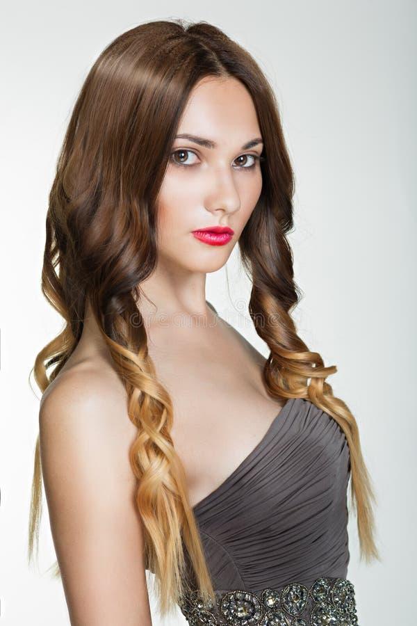 Schönes Brunette-Mädchen. Gesundes langes Brown-Haar. stockfoto