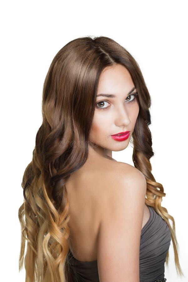 Schönes Brunette-Mädchen. Gesundes langes Brown-Haar. stockbilder