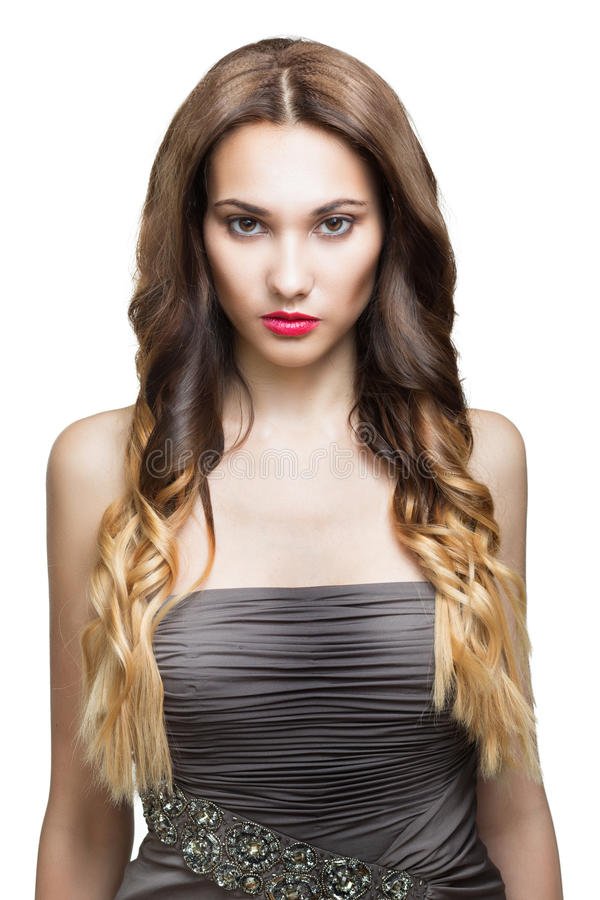 Schönes Brunette-Mädchen. Gesundes langes Brown-Haar. lizenzfreie stockbilder