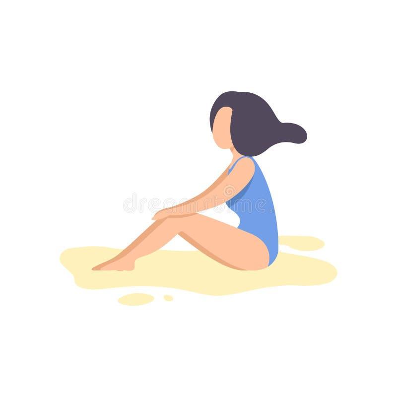 Schönes Brunette Mädchen im blauen Badeanzug, der auf Strand-Vektor-Illustration sich entspannt vektor abbildung