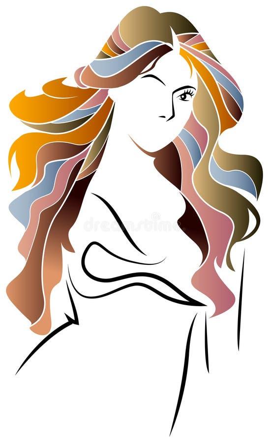 Schönes Brunette-Mädchen mit Frisur und bilden lokalisiert auf weißem Hintergrund stock abbildung