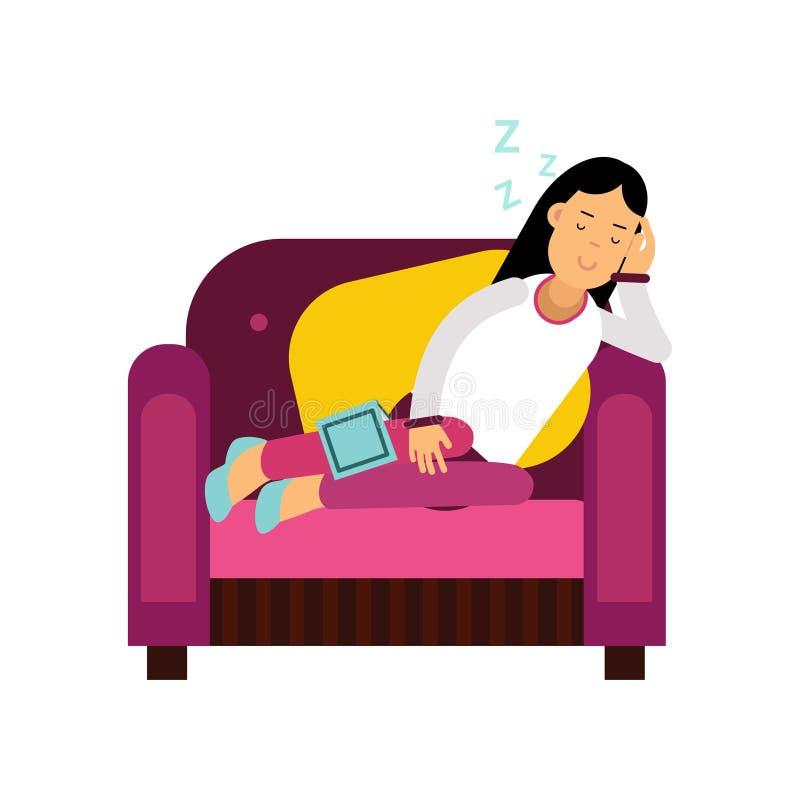 Schönes Brunettemädchen, das auf Lehnsessel, entspannende Personenkarikatur-Vektorillustration schläft vektor abbildung