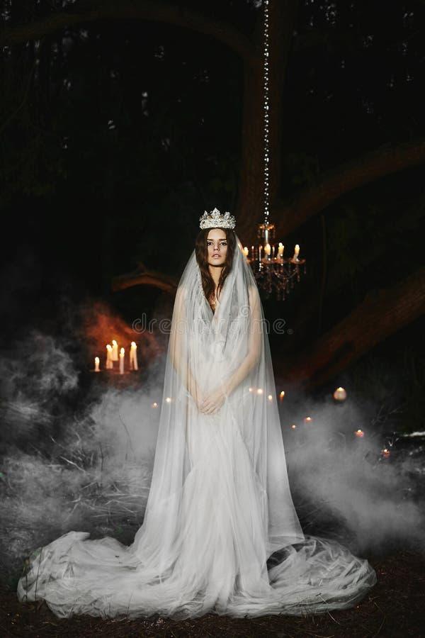 Schönes Brunettemodellmädchen mit einem leichten Make-up in der weißen Wäsche mit einer Krone und im Schleier auf ihrem Kopf steh lizenzfreies stockbild