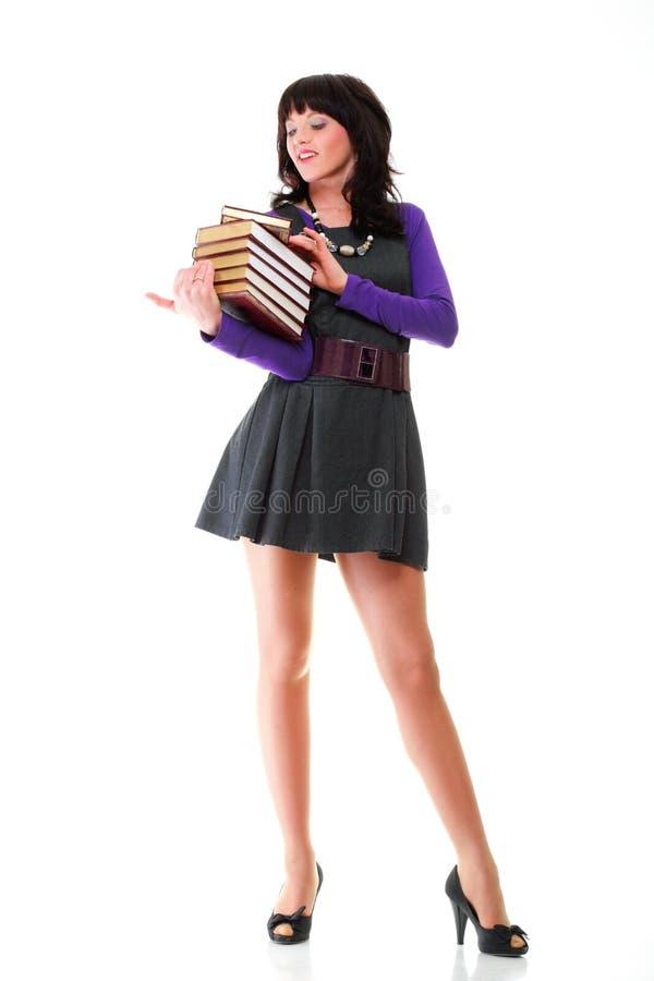 Schönes Buch der jungen Frau Leselokalisiert stockbilder