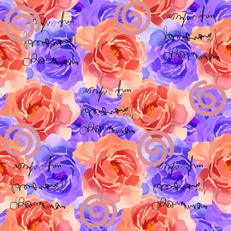 Schönes buntes Aquarell Rose Floral Seamless Pattern Background Elegante Illustration mit den rosa und gelben Blumen vektor abbildung